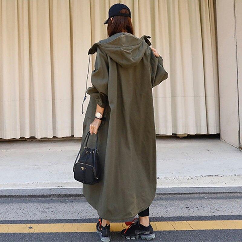 Primavera outono nova coreano trench coat exército verde feminino blusão solto plus size com capuz capa harajuku chaqueta mujer f2527