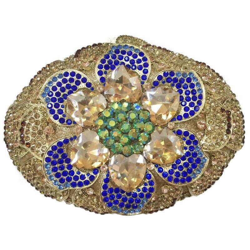 Latest Bridal Wedding Elegant Party Luxury Colorful Crystal Diamond Evening Bag 2020 Newest Crystal Diamond Chain Evening Bag