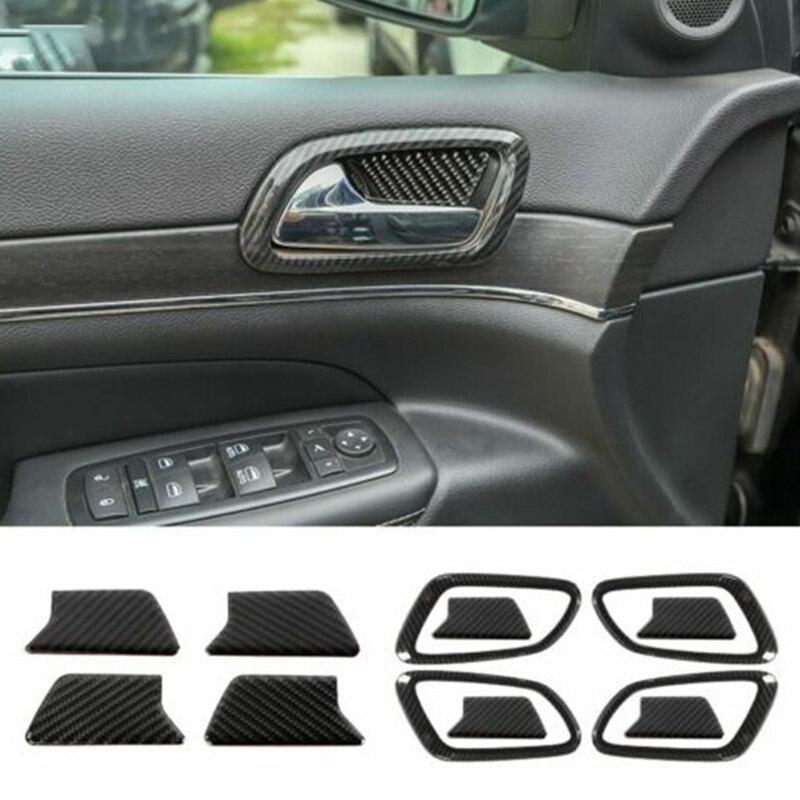 Automotive Carbon Fiber Door Handle Cover Door Bowl Stickers Decoration Interior for Jeep Grand Cherokee 2011-2020