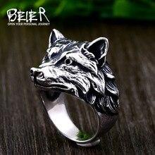 Beier 316L edelstahl Viking wolf kopf männer der ring klassische Noves tier hohe qualität schmuck LLBR8-702R