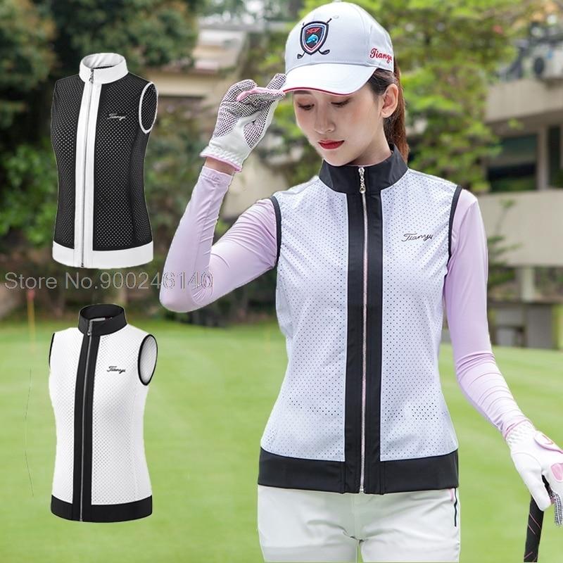 2021 New Golf Clothing Women Vest Spring Sleeveless Tank Tops Full Zipper Sports Wear Outdoor Team Uniform Slim Golf Apparel