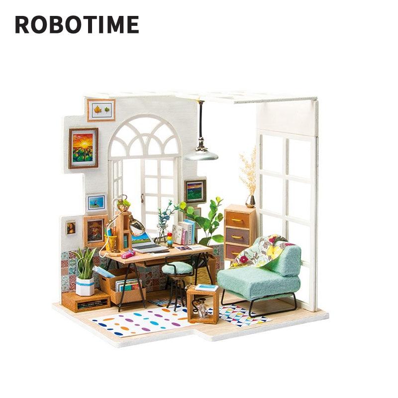Robotime لتقوم بها بنفسك بيت الدمية المصغرة مع الأثاث لعب لدمية خشب أطفال إكسسوارات دمي للبنات هدايا سوهو تايم DGM01