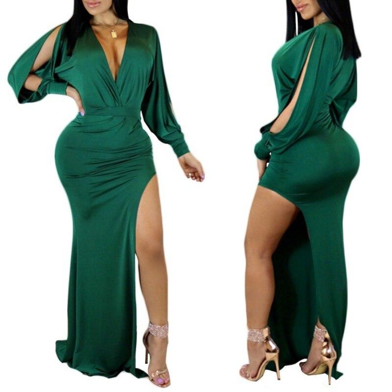 Damska seksowna zielona sukienka Maxi z rozcięciem długość podłogi głębokie V Nek zimne ramię klubowa nocna impreza z długim rękawem suknie suknie S M L