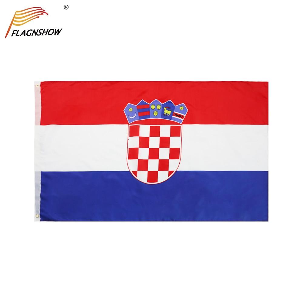 Флаг Flagnshow, Хорватия, цельный флаг, 3 Х5 фута, Висячие флаги из полиэстера, хорватские государственные флаги с латунными прокладками