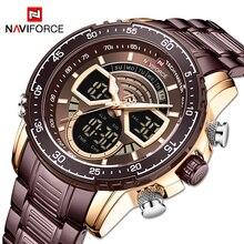 NAVIFORCE Dual display Gold Luxury Men Watch Fashion Sport Quartz Man Watches Military Waterproof Ma