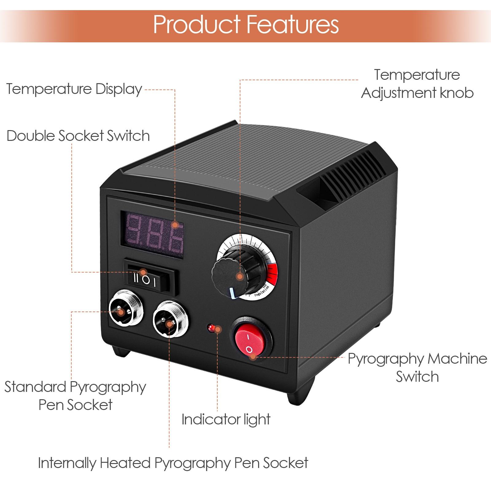 Professional Wood Burning Kit Pyrography Machine With Digital Display Adjustable Temperature Double Socket Dual Pen Tool Box enlarge