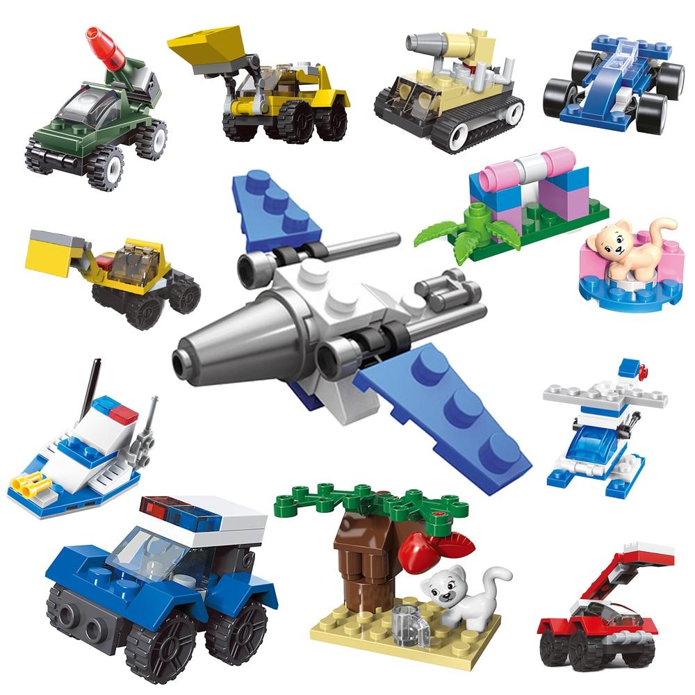 Мини-танк транспорт самолёт машина Обучающие собранные модели строительные блоки Совместимые мелкие Кирпичи игрушки для детей подарок