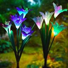 Lampe de fête de Simulation colorée 2 pièces IP65 étanche pelouse LED lumières de lys solaire borne solaire Led lumières de bâton solaire