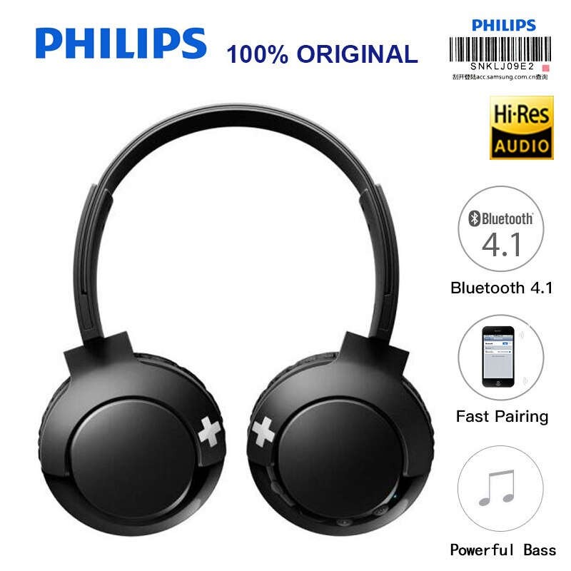 فيليبس SHB3075 عقال سماعة لاسلكية مع بلوتوث 4.1 التحكم في مستوى الصوت ليثيوم بوليمر آيفون X التحقق الرسمي