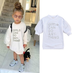 Toddler Baby Girl Sweatshirt Dress Kid Girls Mesh Long Sleeve Letter Printed Fall Winter Pullover Long Tops Outfits 1-6Y