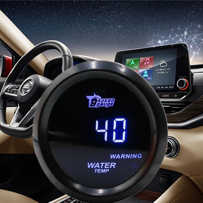 Motor Digital para coche, con luz LED azul de 12V, 52MM, medidor de temperatura del agua, medidor automático de temperatura del agua, carcasa negra, Celsius / Fahrenheit