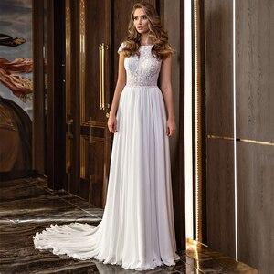 Chiffon A-Line Wedding Dress 2021 Elegant Lace Appliques O-Neck Sweep Train Shrot Sleeve Bridal Gowns