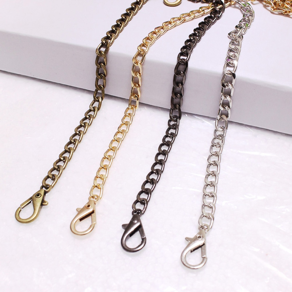 tanqu 1 pair embossed pu weave pattern patchwork chain handle drop end double metal chain for o bag for eva obag women bag Long 120cm Metal Purse Chain Strap Handle Handle Replacement For Handbag Shoulder Bag 4 Color Replacement Purse Bag Chain