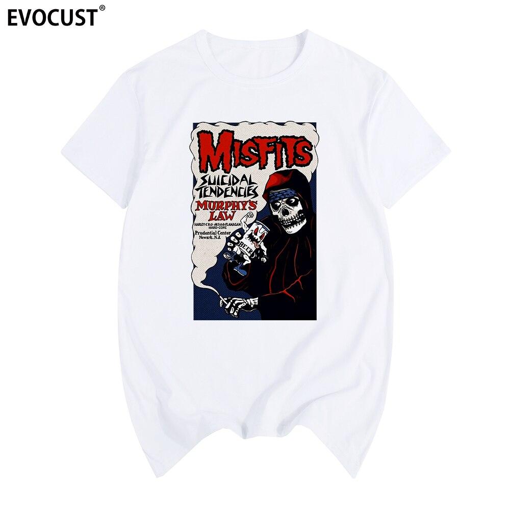 Camiseta de algodón Misfits Skulls punk hip hop para hombre, nueva camiseta, camiseta unisex a la moda para mujer