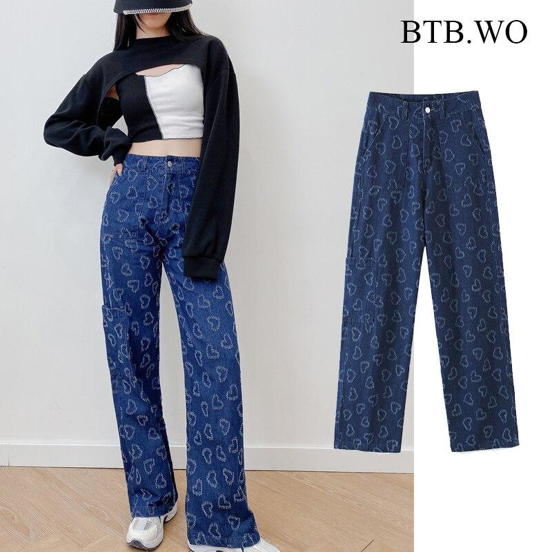 BTB.WO-بنطلون جينز نسائي ، جينز مستقيم ، نمط إنجليزي غير رسمي ، أزياء نسائية مغسولة