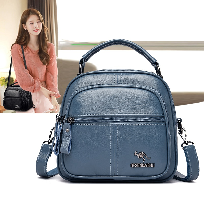 Soft Leather Backpacks for Women 2021 New Trend Multifunction Travel Backpack Preppy Backbag Female Kangaroo Backpack Sac A Dos