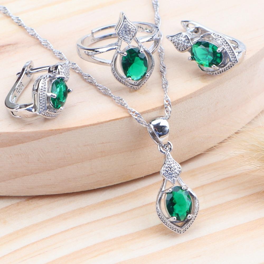 Nuptiale 5 couleur Zircon 925 en argent Sterling femmes bijoux ensembles mariage Costume enfants bijoux anneau boucles doreilles collier ensemble bijoux