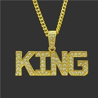 popular european and american street hip hop king letter pendant mens fashion nightclub fashion necklace