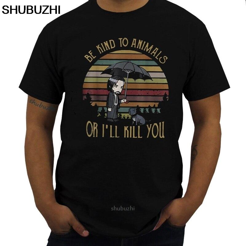 Camiseta John Wick Be Kind To Animals Or Im Kill You, camiseta negra de algodón para hombres, S-6XLCartoon, camiseta Unisex sbz8091