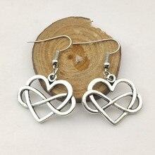 Nouvelle boucle doreille 1 paire coeur infini amour pour toujours pendentifs boucle doreille femmes boucles doreilles
