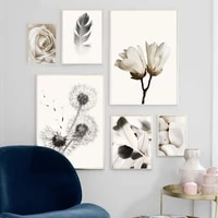 canvas painting wall art nordic poster black white dandelion feather rose flower pictures for bedroom home decor no frame