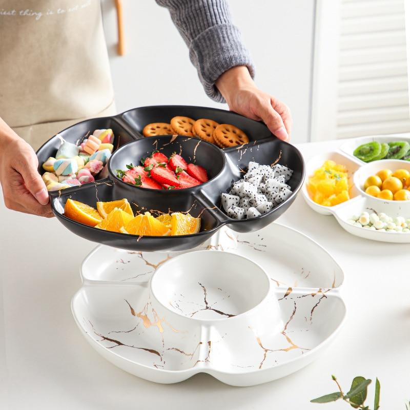 Aperitivos nórdicos de lujo, platos de frutas secas, vajilla de cerámica para Hotel, hogar, sala de estar, boda, plato para frutos secos