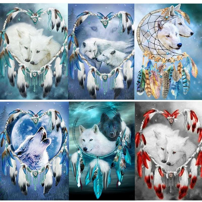 Perforadora de resina completa cuadrada/redonda 5d pintura de diamantes DIY atrapasueños pluma de lobo bordado de diamantes punto de cruz decoración de mosaico 3d