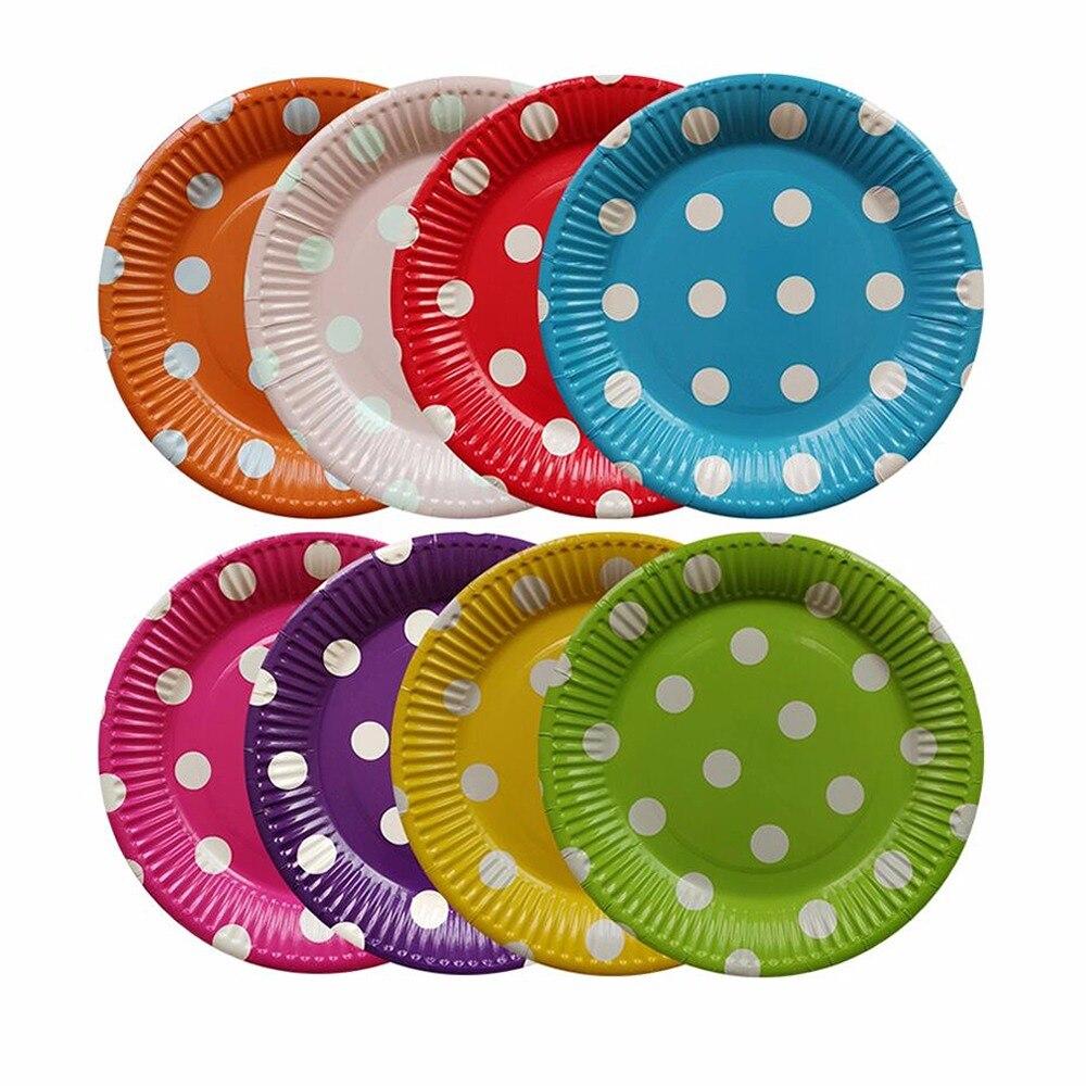 10 шт. одноразовые бумажные тарелки в горошек 7 дюймов|Блюдца и тарелки| |
