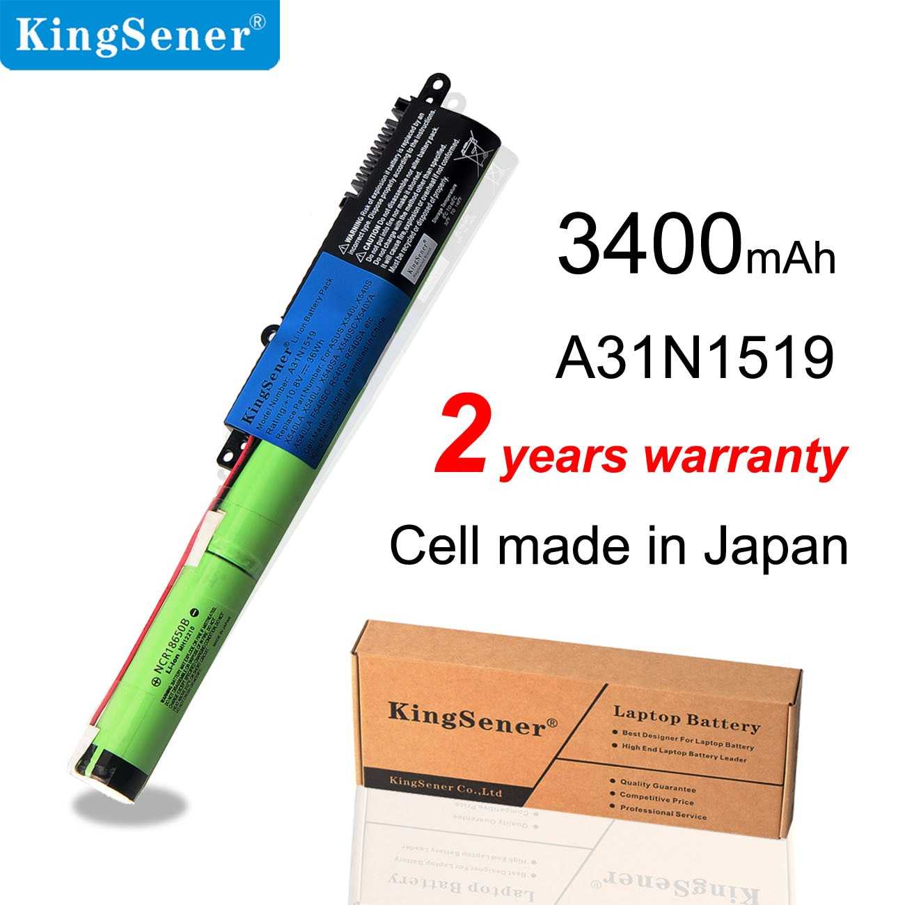 KingSener batería A31N1519 para ASUS F540SC X540LJ F540 X540S R540L R540S R540SA X540SA R540LA X540SC R540LJ 3 celdas 10,8 V 36WH