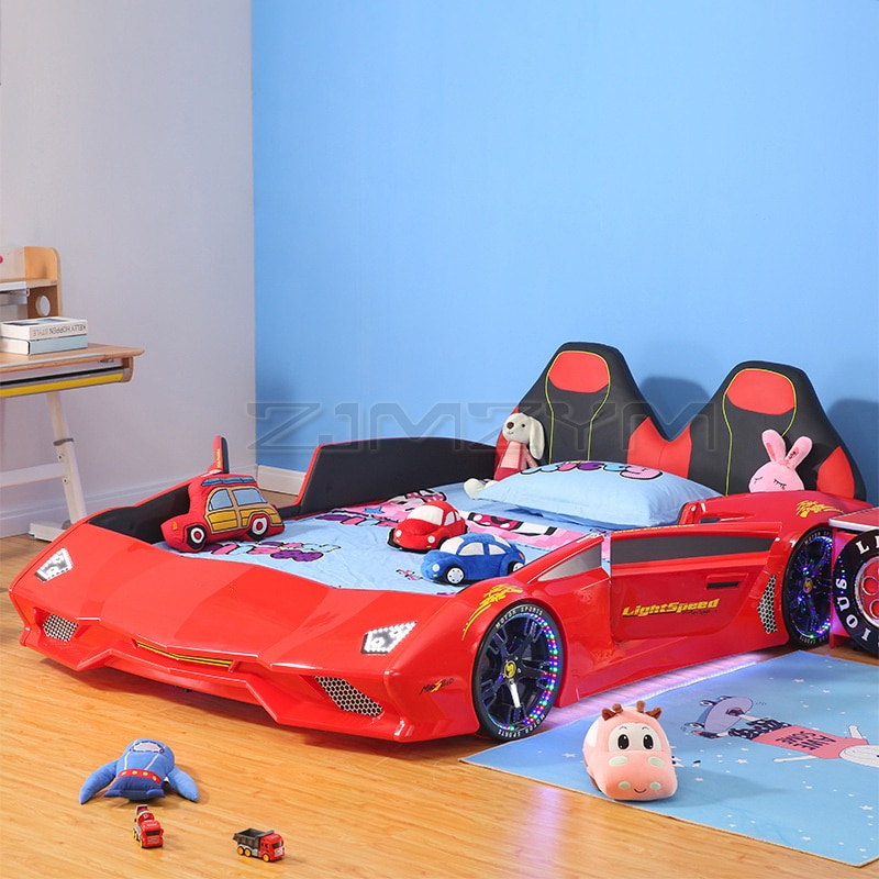 سرير أطفال ستيريو ثلاثية الأبعاد للأطفال سرير على شكل سيارة خامة صديقة للبيئة سرير أطفال سرير التحكم عن بعد سباق