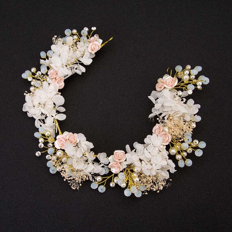 Cor-de-rosa colorido flor fio pérola coroa bandana coroa floral moda headbands para o casamento festival com decoração headwear lb