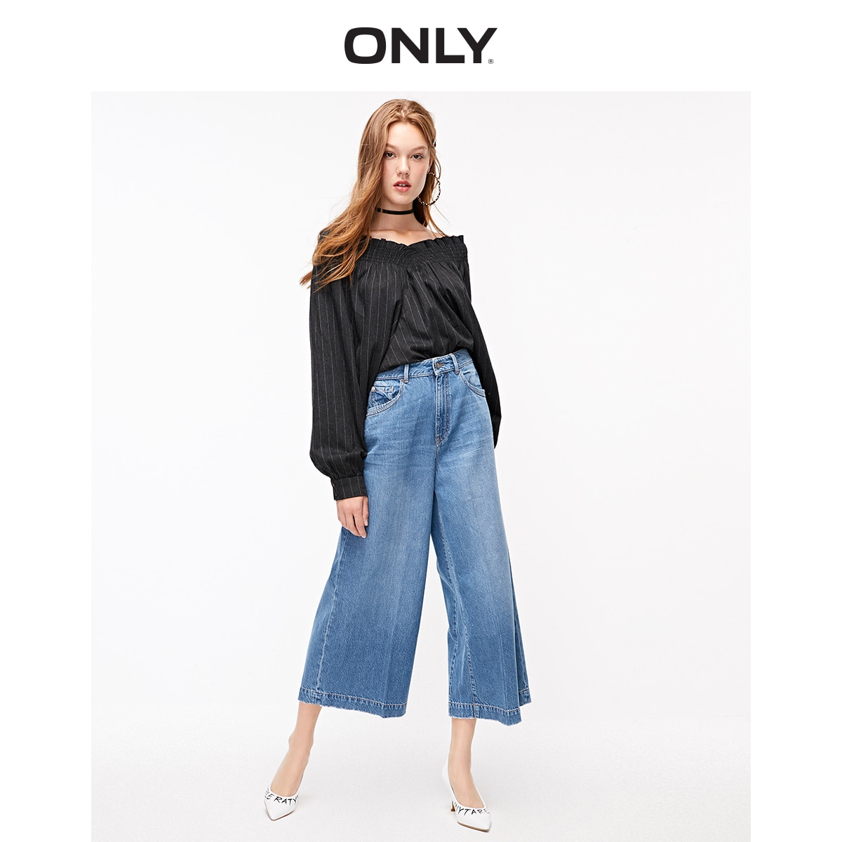 Pantalones Capri de pierna ancha de tiro alto solo sueltos   11936I502