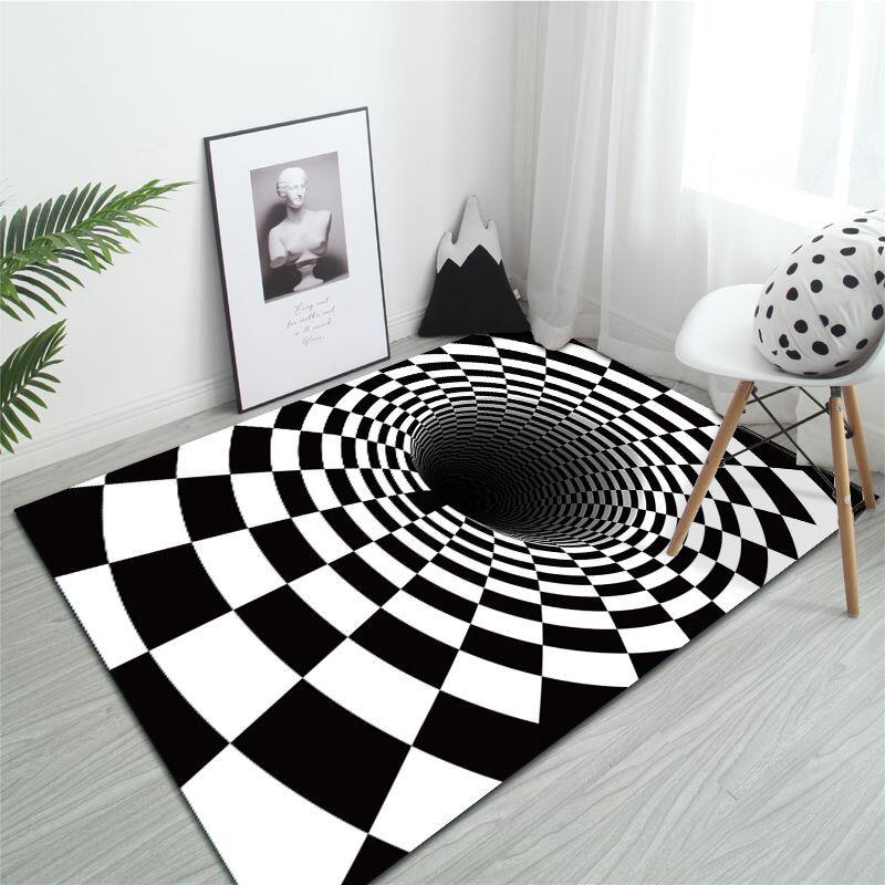 سجادة ثلاثية الأبعاد في غرفة المعيشة أبيض وأسود دوامة البصرية غرفة ديكور سرير أطفال غرفة الطابق السجاد ديكور المنزل السجاد حمام حصيرة