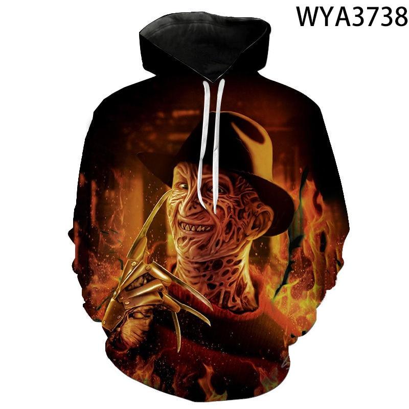 Primavera e outono hoodies moda freddy krueger crianças das mulheres dos homens 3d impresso camisolas pulôver menino menina crianças streetwear casaco