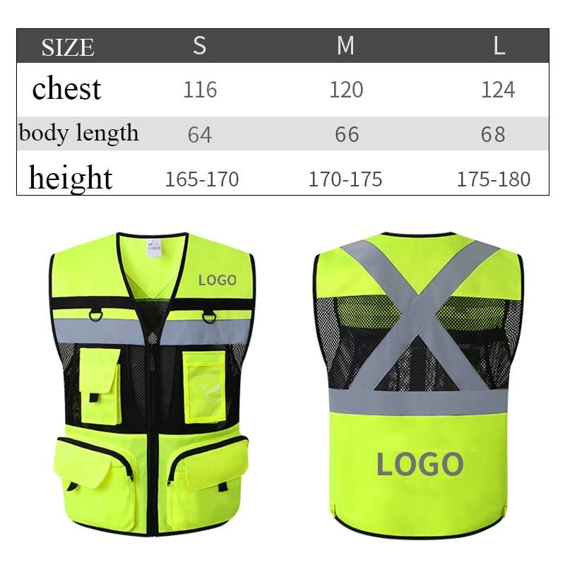 Hi Vis Reflective Safety Vest Mesh Summer Waistcoat Jacket Vest With Cross Tapes On Back Protect Warning Vest LOGO Printing