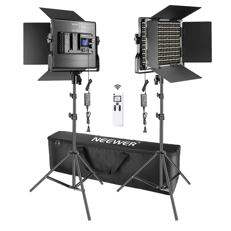 Neewer 2-حزمة المتقدمة 660 LED لوحة ضوء الفيديو عدة التصوير عكس الضوء مع 2.4G اللاسلكية عن بعد ل استوديو اطلاق النار