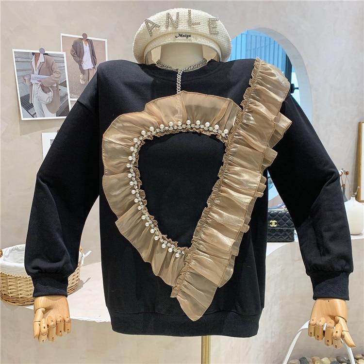 2021 Autumn Winter New Fashion Love Splicing Mesh Long Sleeve Round Neck Sweatshirt Women Heavy Bead Hoodie