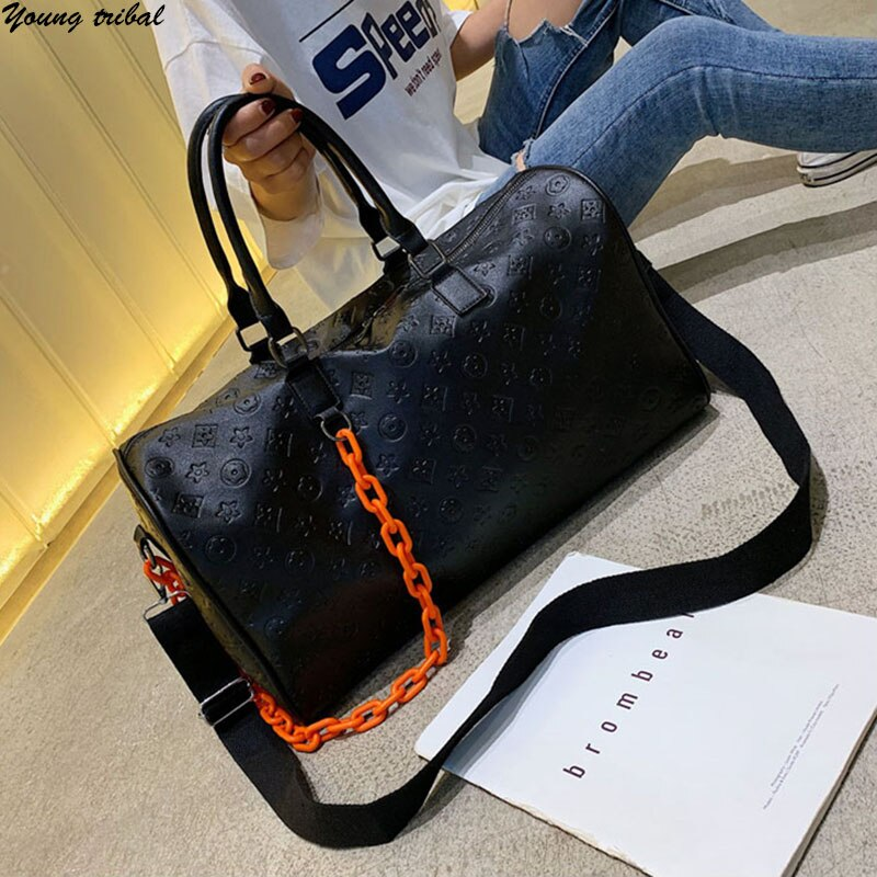 Luxury Women Travel Duffels Bag Weekend Big Bag Large Leather Travel Organizer Bags Hand Luggage Fam