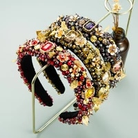 2021 handmade crystal colorful rhinestones headband women girls fashion sponge velvet hair accessories baroque flower hairband