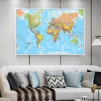 150100cm political map of the world detailed wall poster clear printed canvas paintings classroom home decor school supplies