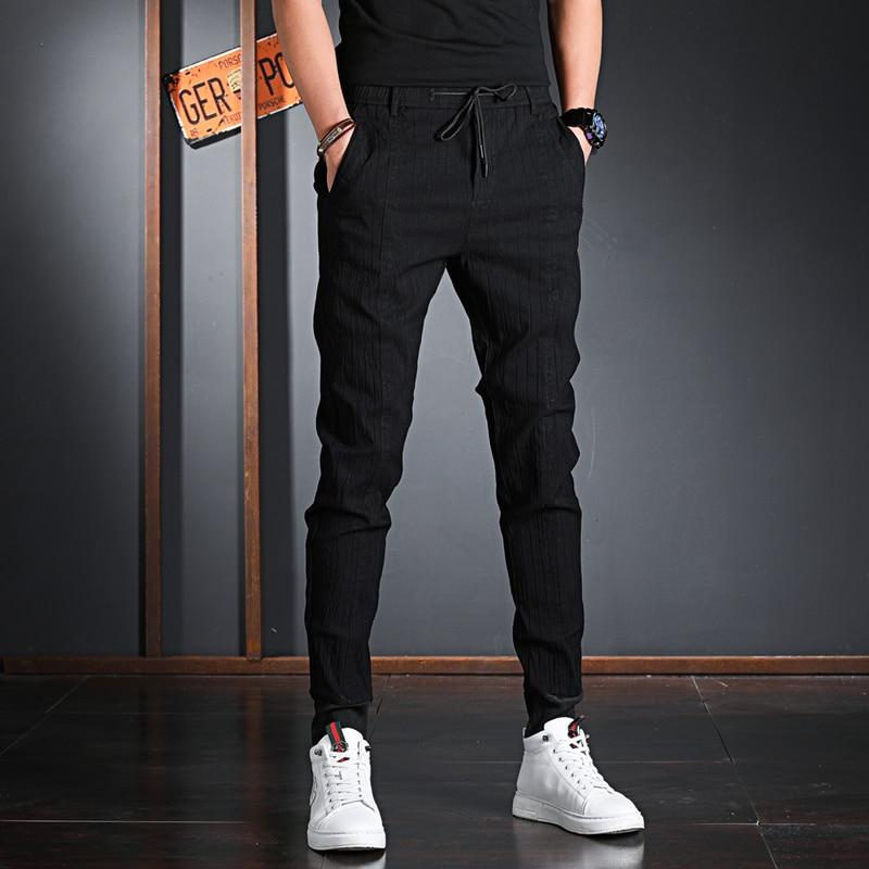 Брюки мужские Плиссированные в полоску, повседневные модные штаны с поясом на резинке, черные, на лето