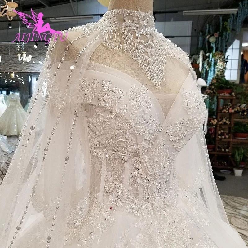 AIJINGYU-فستان زفاف من الدانتيل والترتر ، فستان زفاف ريفي غير تقليدي ، فستان زفاف من الدانتيل ، اثنين في واحد