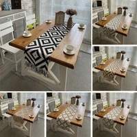 cotton linen table runner buffalo plaid woven kitchen runners tassel for fall wedding dinner coffee table luxury home decoration