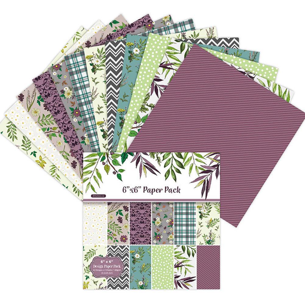 24 folhas diy álbum de fundo scrapbook cartão de scrapbooking pacote de papel fazendo único-face padrão artesanal artesanato papel feito à mão