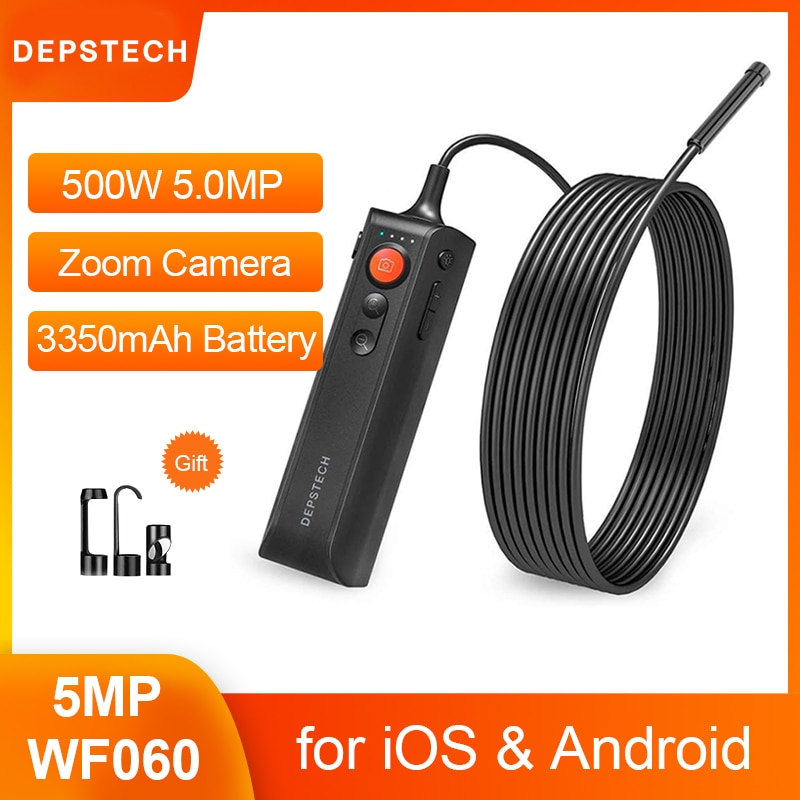 ديبستيك 5.0MP FHD المنظار اللاسلكي زوومابلي ثعبان التفتيش كاميرا الصناعية واي فاي Borescope ل iOS أندرويد الهاتف والكمبيوتر اللوحي