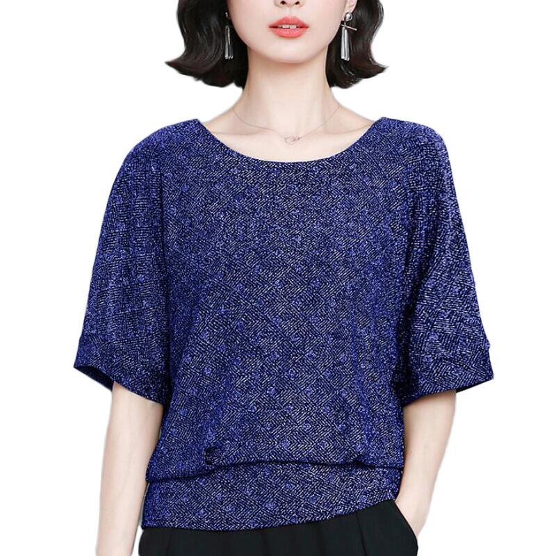 Blusas de Mujeres de moda brillante Lurex encaje blusa Mujer Camisas de...
