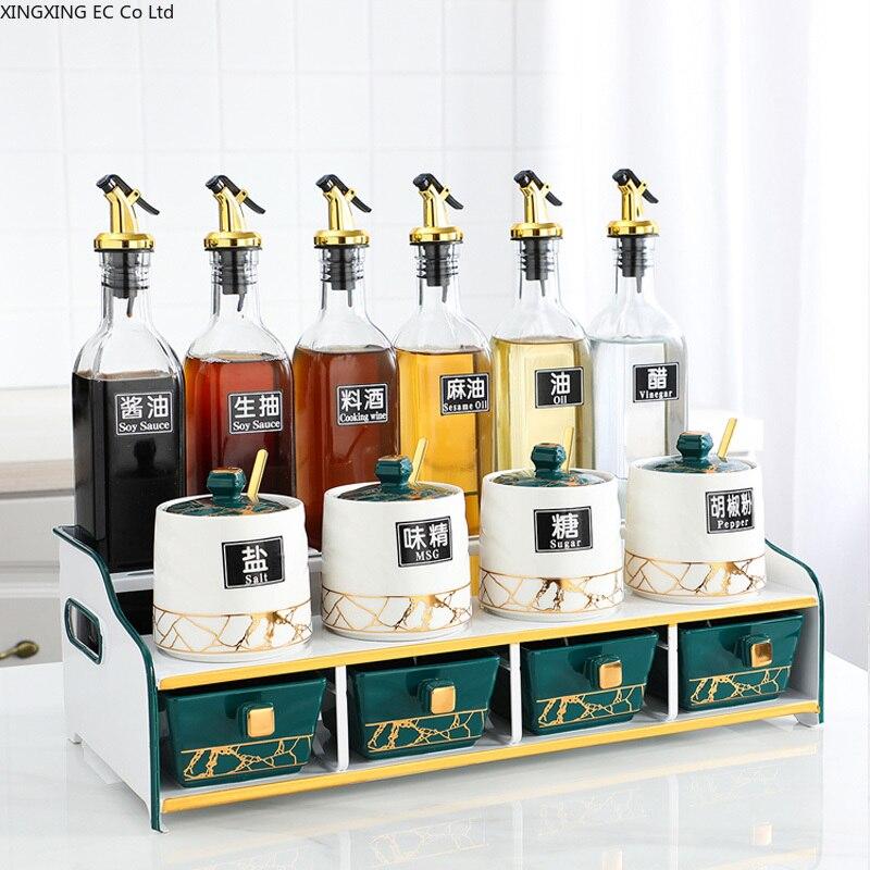 صندوق توابل سيراميك للمنزل ، على الطراز الاسكندنافي ، مجموعة مزيج من برطمان توابل ، شاكر ملح ، زجاجة زيت زجاجية ، رف تخزين ، لوازم المطبخ