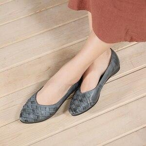 VALLU Spring Summer Women Flats Genuine Leather Pointed Toes Handmade Original Shoes Basic Women Ballerina Slip On Flat Shoes