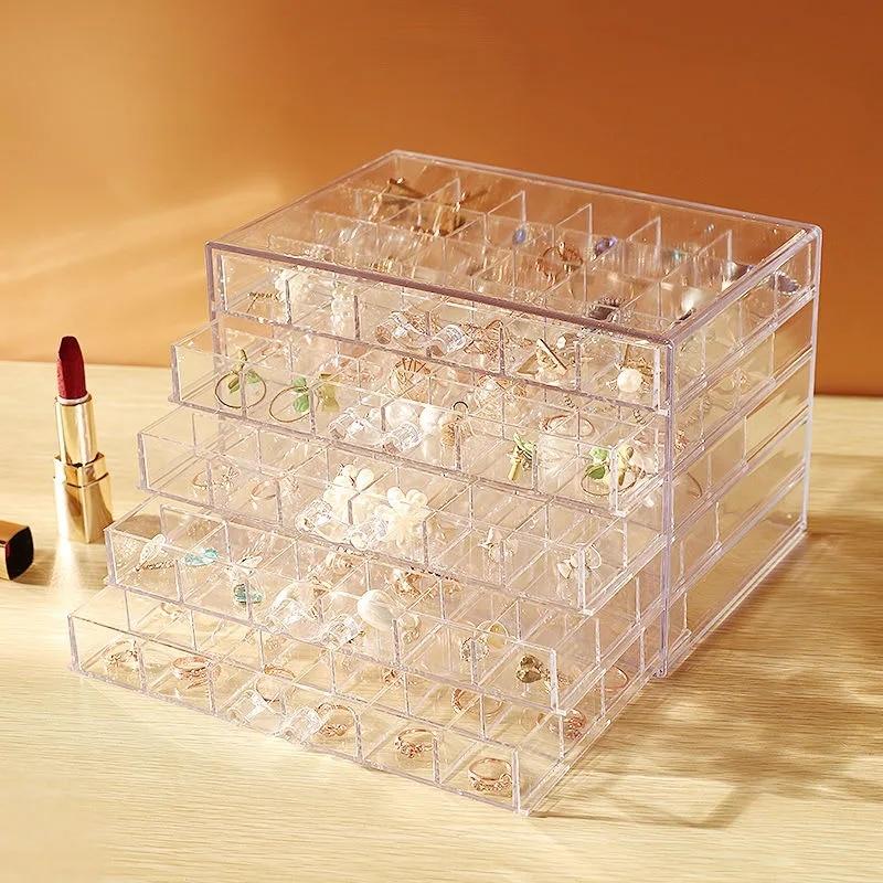 Акриловая прозрачная шкатулка для хранения ювелирных изделий, серег, колец, ожерелий, органайзер для бижутерии с большим пространством, орг...