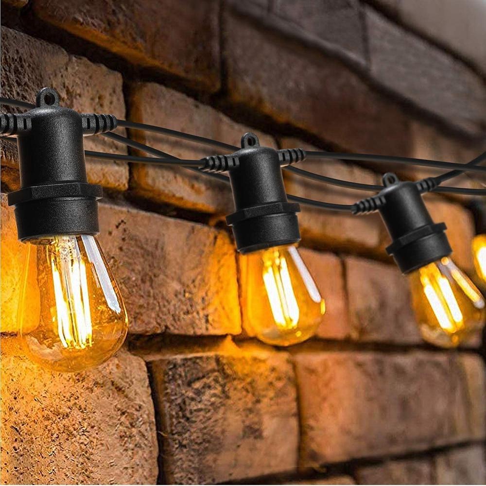 مقاوم للماء 5 متر 10 متر LED لمبات سلسلة أضواء داخلي في الهواء الطلق التجاري الصف E27 شارع حديقة الفناء الخلفي عطلة سلسلة الإضاءة